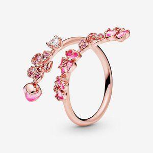 😋Pandora Pink Peach Blossom Flower Branch Open Ri